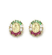 14K Gold Earrings Guadalupe Screw Back On Sale ! Different Colors Available - $39.18