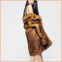 Luxury Roaring Twenties Big Muskrat Coat Turn Down Collar Imitation Faux Fur image 2