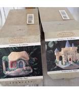 2 Hallmark Invitation Tea European Castle Cozy Cottage Teapot Xmas NOS O... - $24.99