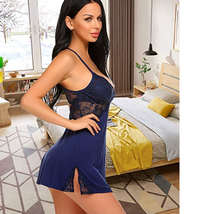 ADOME Women Full Slips Lace Sleepwear Modal Chemise V Neck Nightgown Sexy Linger image 1