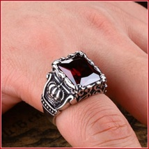 Ruby Red Emerald Cut AAAA Zircon Royal Kings Crown Mens Titainium Ring image 3