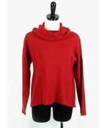 COLDWATER CREEK Size M 10-12 Red 50% Merino Lightweight Cowl Sweater Tex... - $27.99