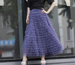 Green Ruffle Tiered Tulle Skirt Layered Long Bridal Wedding Prom Tulle Skirt image 11