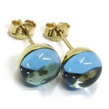18K YELLOW GOLD BUTTON LOBE EARRINGS, CABOCHON BLUE TOPAZ DIAMETER 9mm image 2