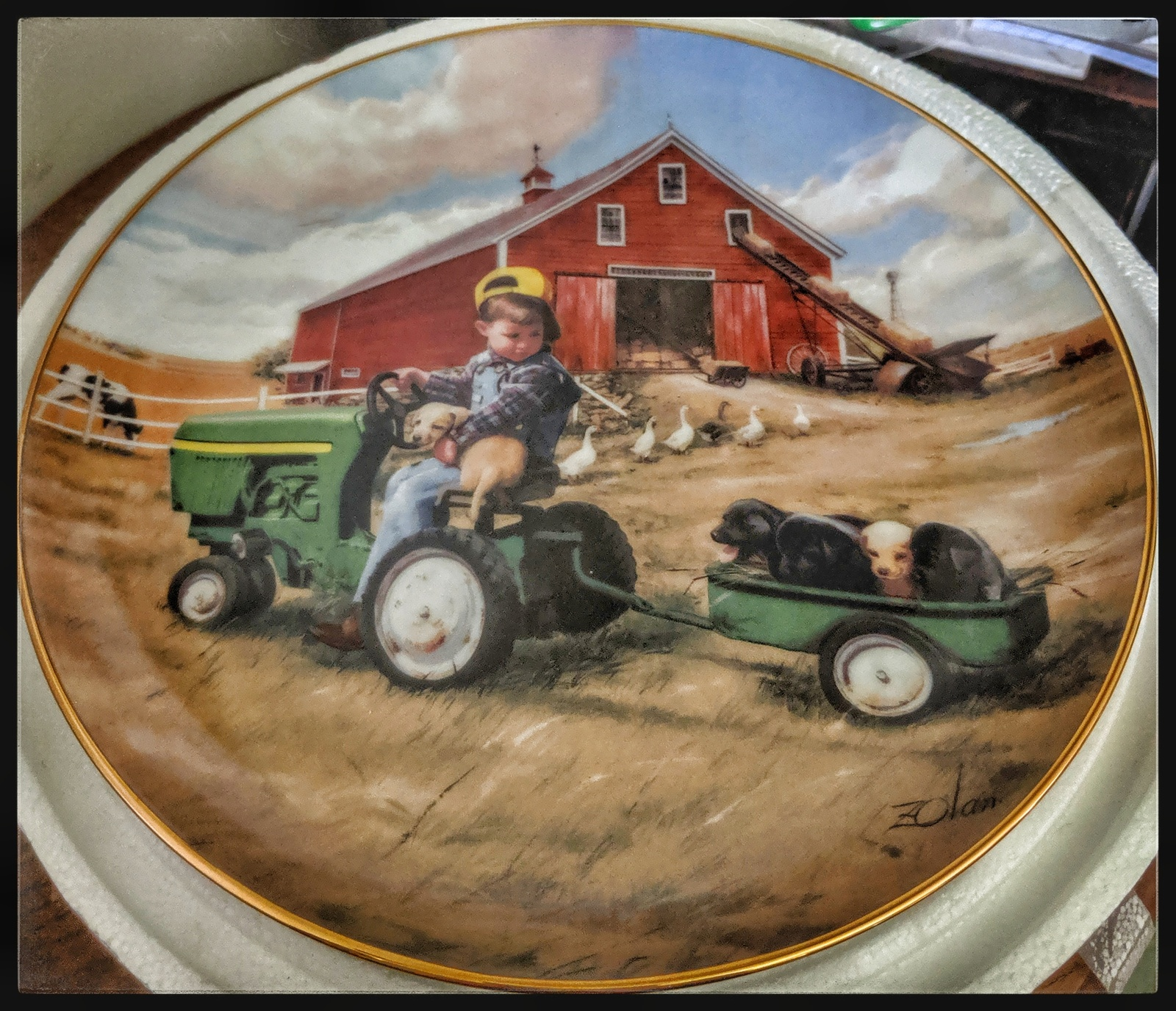 Danbury Mint Collector porcelain Plate Tractor Ride w certificate of auth