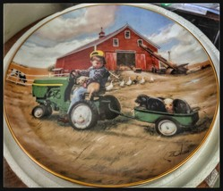 Danbury Mint Collector porcelain Plate Tractor Ride w certificate of auth image 1