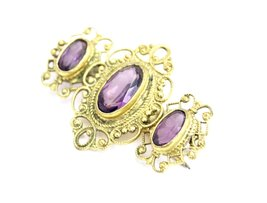 Victorian Neck Brooch 3 Amethyst Stones Bezel Set Ornate Gold Wash Setti... - $145.00