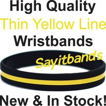 50 Thin Yellow Line Wristband Bracelets Show Support Awareness w/your Wr... - $23.88