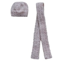 Barbie Doll Clothes Knit Pink Hat and Scarf 2-Piece Set Handmade - $6.99