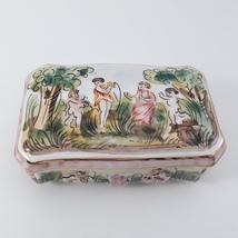 Vintage CAPODIMONTE Cherub Porcelain Trinket Dresser Box image 1