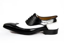 Men Hand Made Anastasio Resurrection Black & White Spectator Leather Shoes image 3