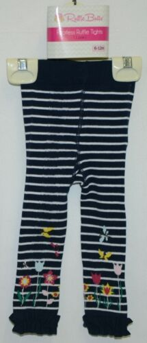 RuffleButts RLKNV06WSFL Navy Stripe Floral Ruffle Footless Tights 6 to 12 Months