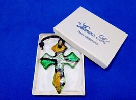 Glass Cross Charm/Pendant, Green/Gold/Silver, Murano Art Glass, Gift Box... - $8.77