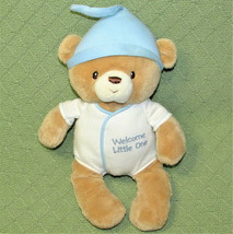 BABY GUND BOY WELCOME LITTLE ONE TEDDY BEAR STUFFED ANIMAL BLUE WHITE 12... - $23.76