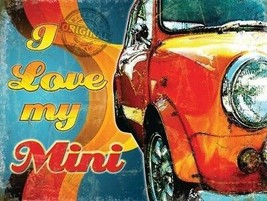 I Love My Mini Classic Retro 60's 70's Car Auto Old Garage Large Metal/T... - $15.40