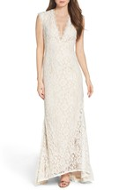 Aidan Mattox Stretch Lace Gown with Open Back, Ivory/Nude, 12 - $217.79