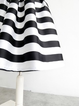 Women White Black Strip Pleated Midi Skirt A-line High Waist Pleated Plaid Skirt image 5