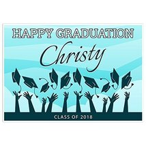 Throwing Hats in Sky Class of 2018 Graduation Banner Personalized Backdrop - £31.89 GBP