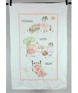 Vtg Handmade Daily Routine Embroidered Cross Stitch Kids Baby Blanket Co... - $19.79