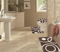 WPM 3 Piece Bath Rug Set CIRCLE Pattern Bathroom Rug 50CMx80CM/large Con... - $36.46