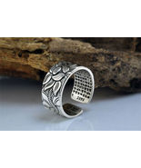 Pure Silver Heart Sutra Lotus Ring - $24.99