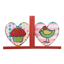 Adeco Colorful Heart Shaped Cupcake & Bird Decorative Wood Bookends - £7.46 GBP