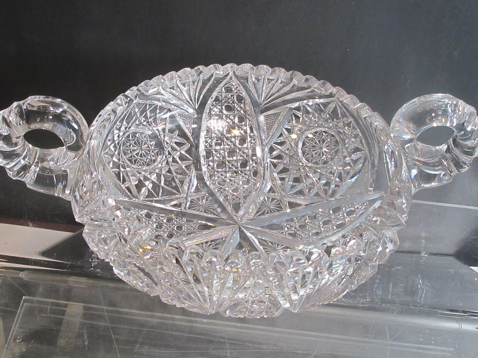 Hand Cut Glass 2 handled bowl abp - $196.00
