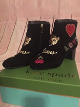 KATE SPADE NIB EMBELLISHED SUEDE BOOTIES SIZE 8 BLACK - $175.00