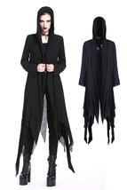 Women's Long Black Distressed Hooded Raggedy Goth Witch Jacket Spring Fa... - $68.11