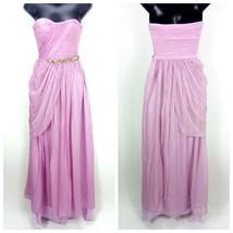 BCBGMAXAZRIA Women's Strapless Dress Purple 100% Silk Beaded Waist Cockt... - $39.42