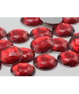 Allstarco 25mm Red Ruby H103 Flat Back Round Acrylic Jewels Pro Grade - ... - $5.83