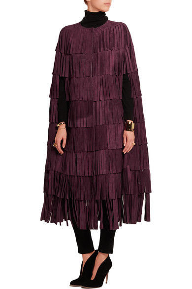 WOMEN'S NEW IN FASHION FRINGES SUEDE LEATHER CAPE PONCHO BOHO HIPPY SHAWL WC132 image 6
