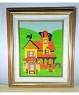 Stunning Vintage Framed Farmhouse 20 x 17 Needlepoint • Complete  - $125.00