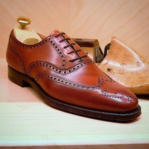 Handmade Men's Red Wing Tip Brogues Lace Up Dress/Formal Leather Shoes image 4