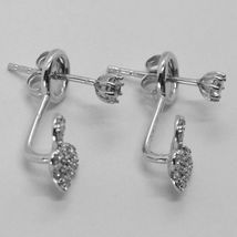 18K WHITE GOLD PENDANT EARRINGS, BUTTERFLY UNDER THE EARLOBE WITH ZIRCONIA image 4