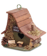 Gifts and Decor Wood Love Shack Bird House With Heart Shaped Door - $40.39