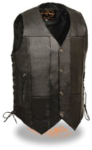 MEN'S MOTORCYCLE 10 POCKETS BIKERS REAL COW LEATHER VEST SIDE LACE SOFT ... - $78.25+
