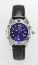 Fossil Womens Watch Silver Stainless Black Leather 100m Date Blue Batter... - $33.46