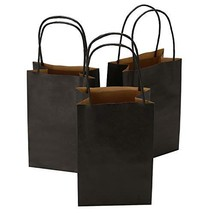 Ronvir 5.25 x 3.25 x 8 Inches 50pcs Black Kraft Paper Bags with Handle, Shopping