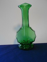 Imperial Glass Forest Green Banjo Musical Instrument Shaped Bottle - $15.83