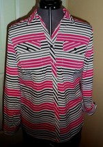 *Notations Blouse Top Size Ps Stretch Pink Black White Stripe Nwt - $14.99