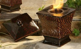 "10.8"" Square Ceramic Flame Pot w Stainless Steel Cup and Ceramic Lid"