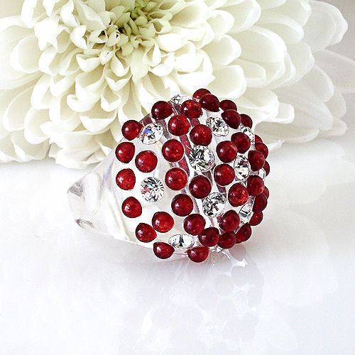 Clear Acrylic Domed Ring Red And Clear Swarovski Elements Crystal On Dome Size 8 image 4