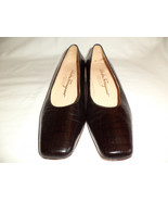 Salvatore Ferragamo 6.5 A NARROW Leather Brown Reptile Embossed Shoes It... - $98.00