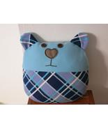Handmade Decorative Throw pillow, blue, home decoration,teddy bear shape - $35.00