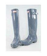Hunter Boot Company Gull Grey Tall Gloss Original Rainboots 6 NWOB - $97.52