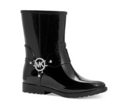 Michael Kors FULTON HARNESS Black Rain Bootie Ankle Boots Shoes Flats 6 NEW - $79.99