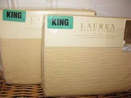 2 Ralph Lauren MIRABEAU PICK STITCH DARK CREAM Standard Shams - $107.62