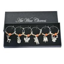 Orange Crystal Christmas Collection Enamel Pendant Wine Charms Christmas... - $7.84