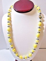 """VINTAGE NECKLACE """"RAINBOW"""" IRIDESCENT OVER YELLOW AND SILVER TONE PLASTI... - $28.00"""